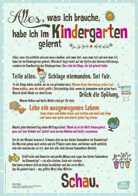 Poster with great quote on the importance of the kindergarten for the personality