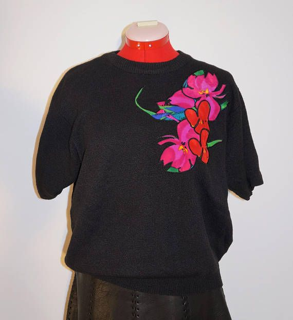 In store now Circa 1980, black sweater with applique flowers