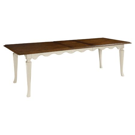 Showcasing A Scalloped Apron And White Vintaged Cherry Finish This Lovely Dining Table Makes