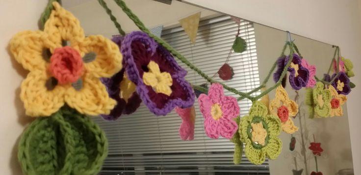 Spring Flower Crochet Garland