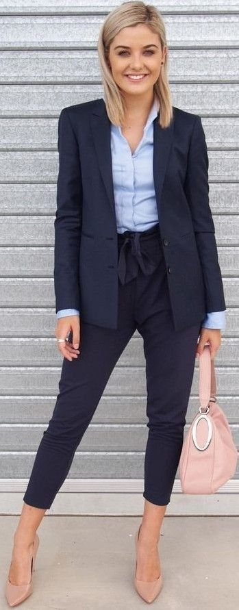 #fall #work #outfits | Shades Of Blue + Pop Of Pink