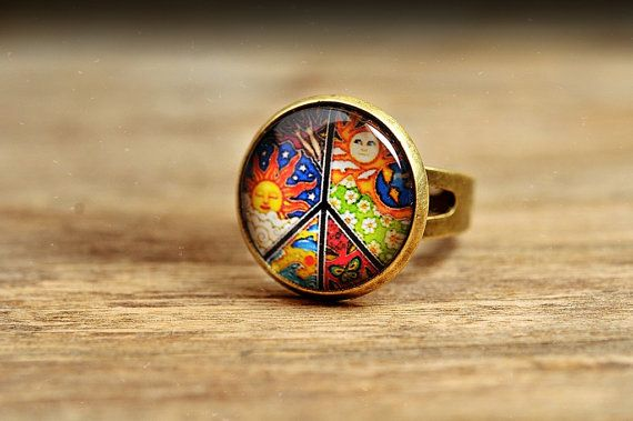 Peace ring adjustable ring colorful ring statement by SomeMagic, $9.50