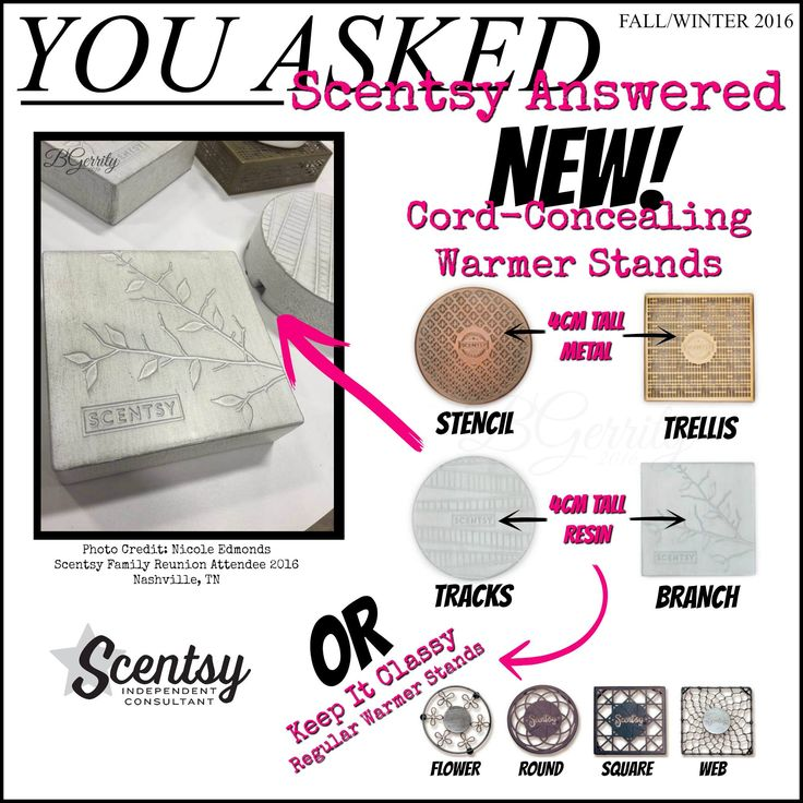 Cord concealing warmer stands, available September 1st.. Contact me to find out more at www.smellarific.com.