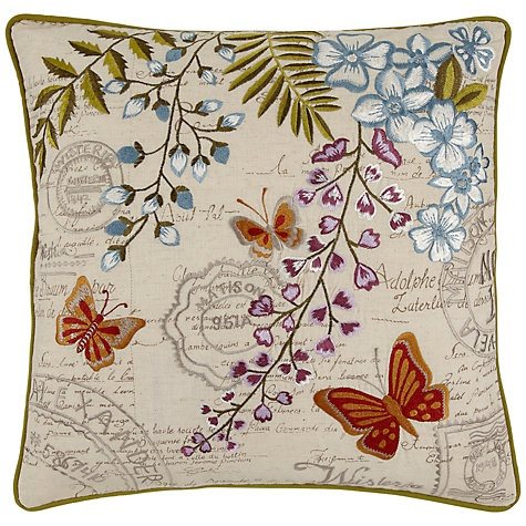Buy John Lewis Script Butterfly Cushion, Multi Online at johnlewis.com