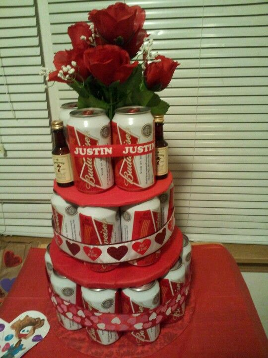 Instead of a diaper cake, i made him a beercake for Valentine's day...ginger ale in middle with whiskey mini toppers so he can also enjoy his favorite drink!!!