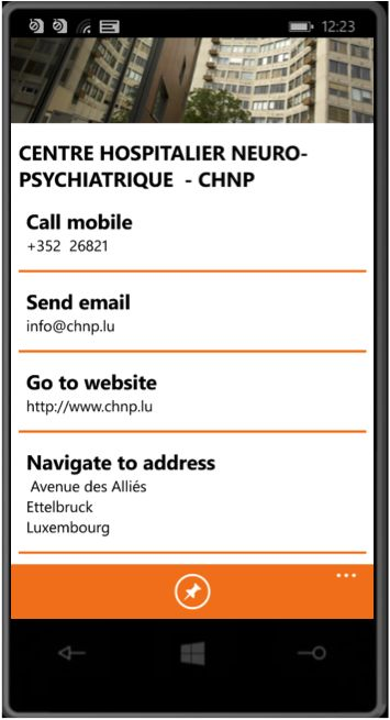 Details of a search health provider: Address / Tel. Number / Website / Email / Directions