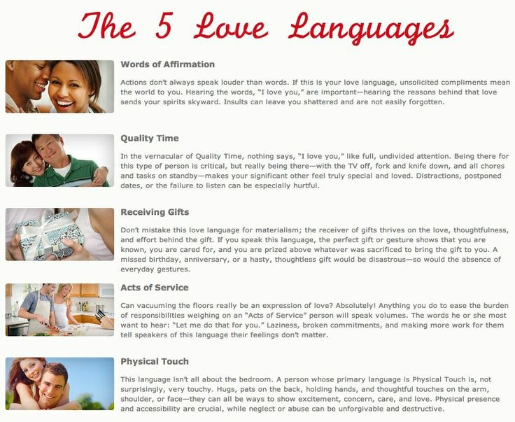 five love languages dating couples Does your wife always buy you little gifts at the store to express her love for you, when you would rather have a back rub from her does your husband always buy you flowers for valentine's day when you would rather go on a romantic date with him the 5 love languages might not work magic for.