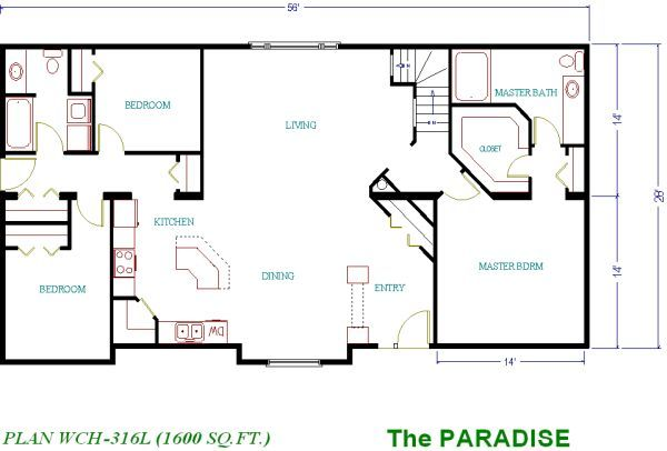 one level house plans with three bedrooms   House plans, home plans and new home designs, including floor plan