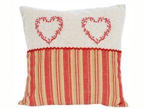 Potah na polštářek 40 x 40 cm Sladký domov dekor 2 vyšívaná srdce červená- pruhy