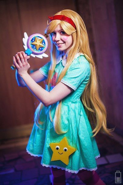 Star vs The Forces of Evil Cosplay costume wig wand Star Butterfly