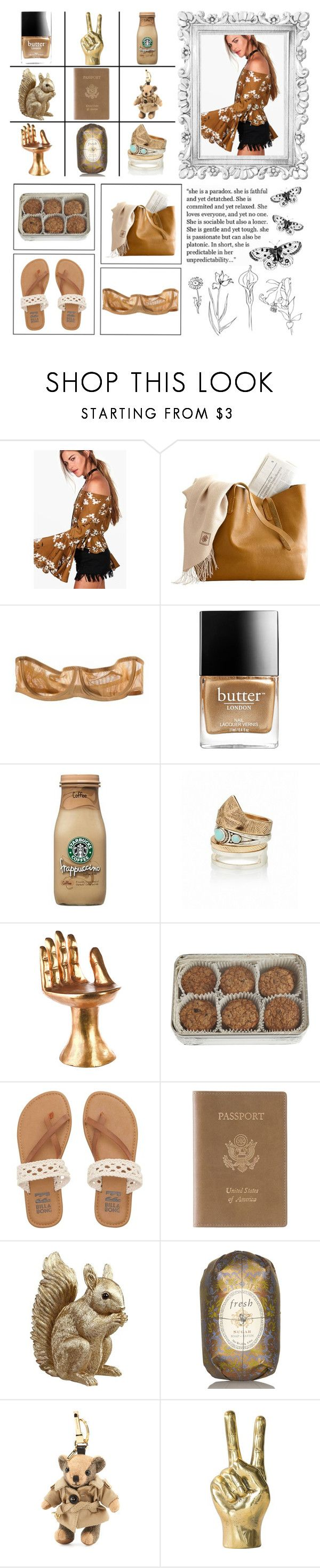 """""""Boho Babe"""" by alongcametwiggy ❤ liked on Polyvore featuring Forum, Boohoo, Bodas, Butter London, Pols Potten, FREDS at Barneys New York, Billabong, Royce Leather, Fresh and Burberry"""