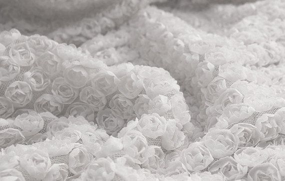 Lace Fabric 3D White Chiffon Small Rose Soft Lace by lacediy