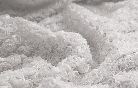 Lace Fabric 3D White Chiffon Small Rose Soft Lace by lacediy