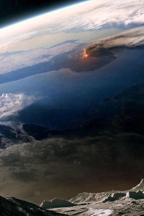 Earth with volcano erupting(?)