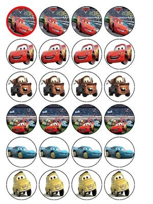 """24 x Disney Cars 1.5"""" Edible Cupcake / Cake Toppers Decorations"""