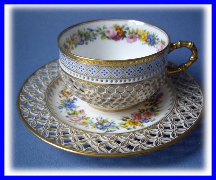 RARE CUP ~  PORCELAINE SEVRES 1844 LOUIS PHILIPPE-I love reticulated saucers.