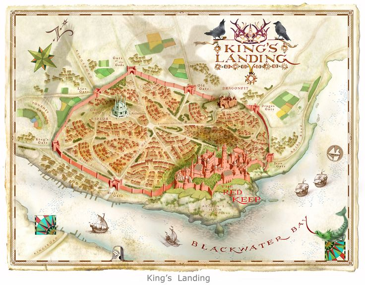 "Map illustration by Michael Gellatly of the fictional land of King's Landing from George R. R. Martin's Game of Thrones ""King's Landing"". Map illustration by Michael Gellatly"