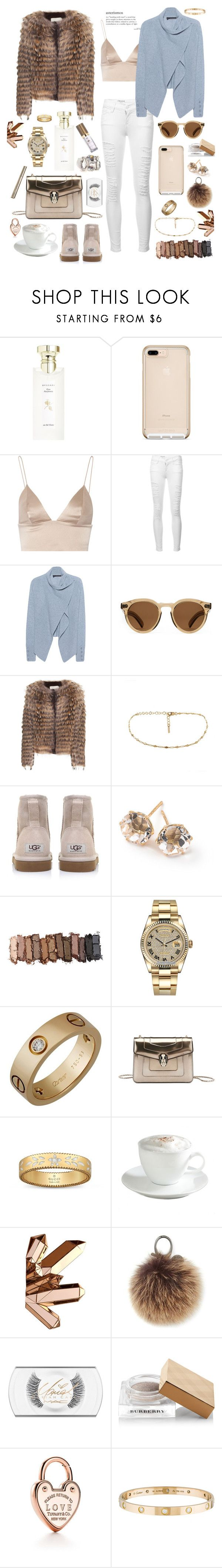 """""""Asterismos"""" by iii-i-mcmxcv ❤ liked on Polyvore featuring Bulgari, T By Alexander Wang, Frame, 360 Sweater, Illesteva, Yves Salomon, UGG Australia, Ippolita, Urban Decay and Rolex"""