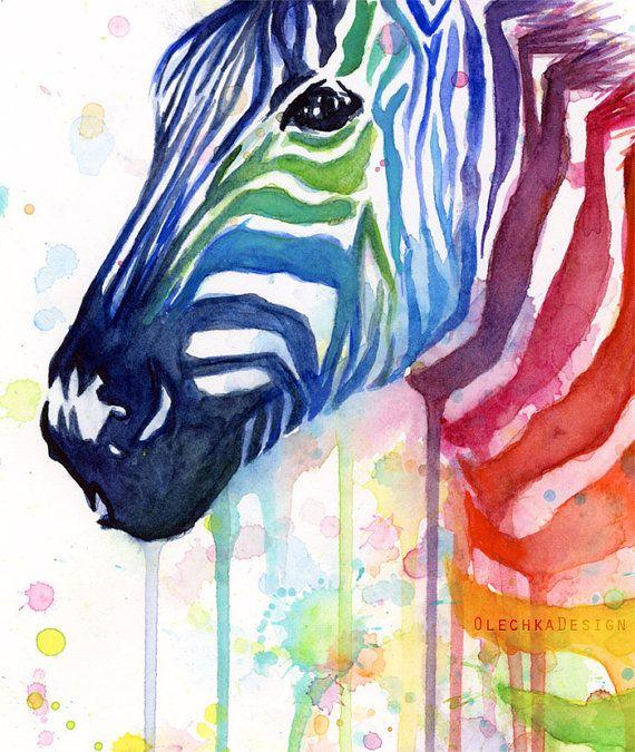 Zebra Art Watercolor Painting Art Print Rainbow by OlechkaDesign