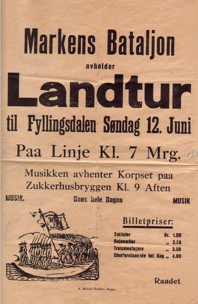 En landtursplakat fra 1921. Den gang var hele Marken folketom da korpset dro på landtur, og dampbåten var tjåka full!! Kilde: Tony A. J. Fotomuseum Bergen