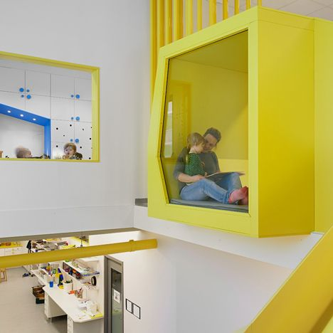 Sjötorget Kindergarten in Stockholm by Rotstein Arkitekter | projected colourful volumes (connection spaces)