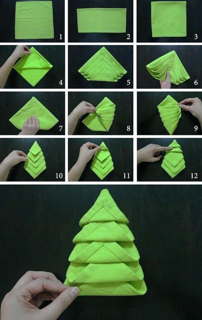 Green Tree Shaped Napkin Step By Step Diy Tutorial Fancy Napkin Folding In 2020 Christmas Tree Napkin Fold Christmas Napkin Folding Christmas Napkins