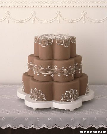 Delicate Dotted Petals Wedding Cake