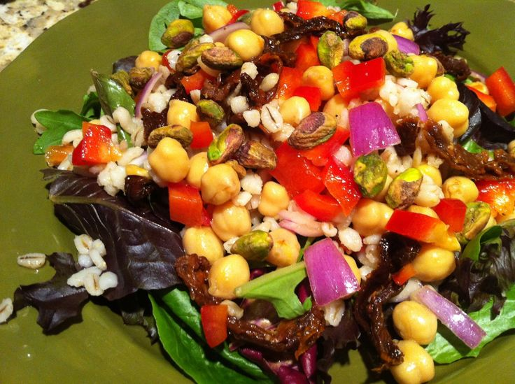 Salad Greens with Barley and Chickpeas | Food | Pinterest | Chickpeas ...