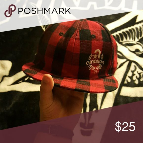 Plaid amaxon skateboard hat Red and black plaid skateboard hat amaxon Accessories Hats