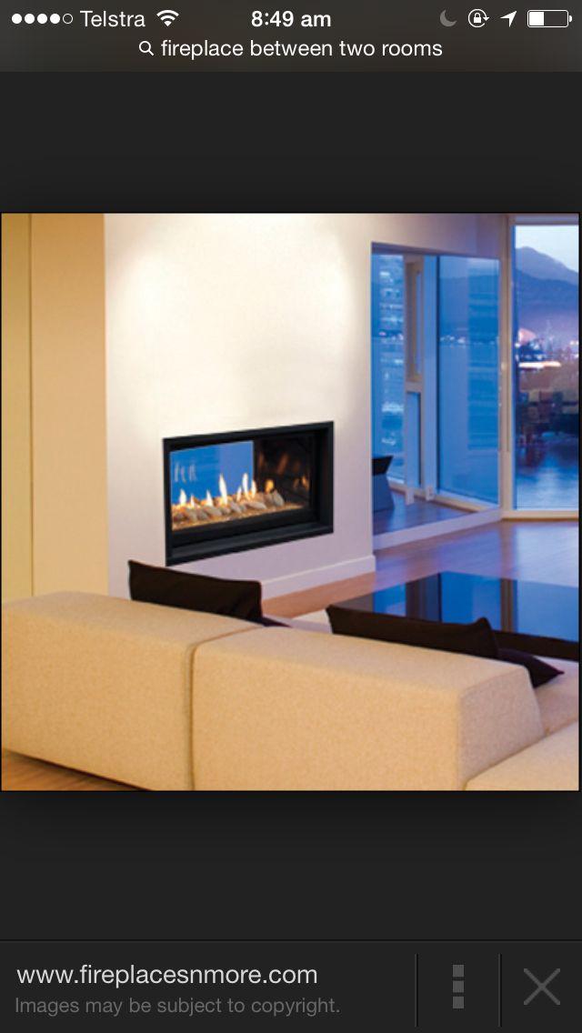 Fireplace in between walls
