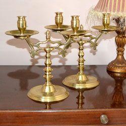 Pair of beautiful heavy vintage brass Ecclisiastical candelabra circa 1930's