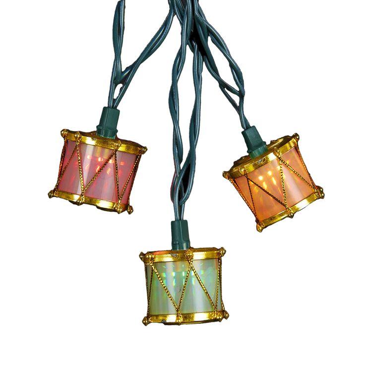 Kurt Adler 10-Light Gold Drum Light Set