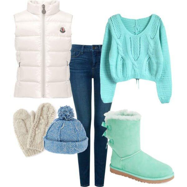 Мятные угги, джинсы, мятный укороченный свитер, белый дутый жилет, бежевые…