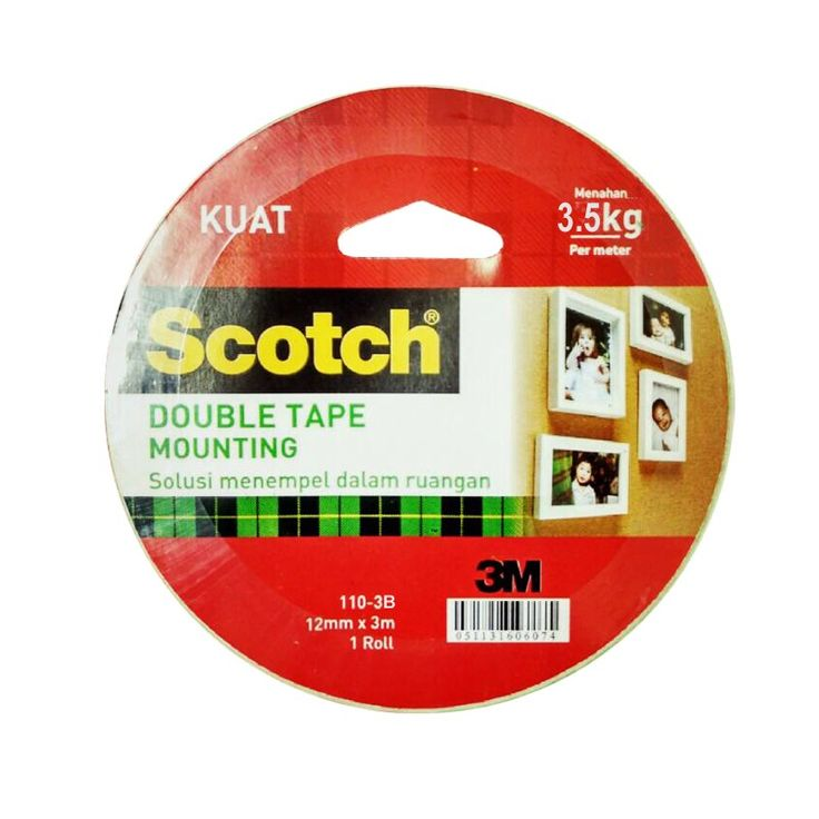 Mounting Tape Scotch 3M 110-3B (Double Tape) 12mm x 3m (eceran) - Double Tape Paling Kuat & Tebal (eceran)  A double-coated foam tape that adheres and conforms to a variety of surfaces. Faster, safer, and more versatile than screws or nails,  http://tigaem.com/scotch-tape/1096-mounting-tape-scotch-3m-110-3b-double-tape-12mm-x-3m-eceran-double-tape-paling-kuat-tebal-eceran.html  #scotch #doubletape #3M