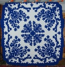 AUTHENTIC Vintage 30s Blue & White Hawaiian Applique Antique Quilt ~BEST OF KIND  #quilts #quilting #hawaiian_quilts