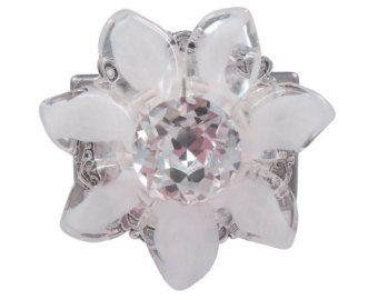 Art-Deco-Möbel Knopf Swarovski Kristall Tschechische Glas Blume weiß/Küche Kabinett Knopf/Statement Knopf/Mädchen Schublade Knauf/einzigartige Knopf