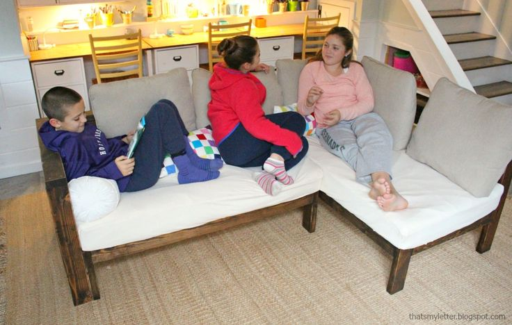 Ana White | Kids Couch - 2x4 DIY Sectional with Crib Mattress Cushions - DIY Projects