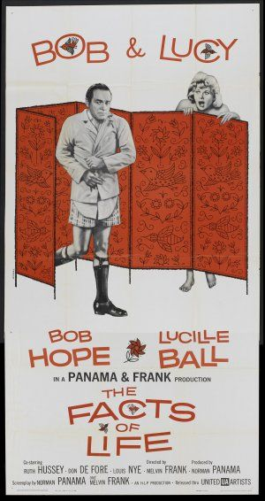 The Facts of Life (1960) Stars: Bob Hope, Lucille Ball, Ruth Hussey, Don DeFore, Louis Nye, Philip Ober ~ Director: Melvin Frank (Nominated for 5 Oscars including a win for Best Costume Design, Black-and-White by Edith Head; Nominated for 3 Golden Globes and several other Awards 1961)