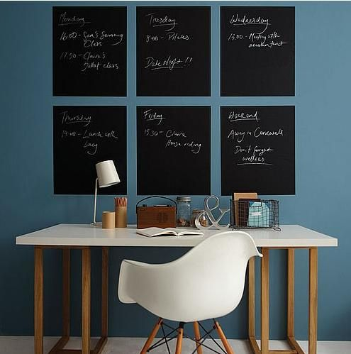 #Calendar #Office   Love the idea of blackboards for each day of the week.  I need to so do this - get my life organized.
