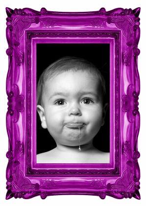Fotolijst paars - Babyborrel - Uitnodigingen - Kaartje2go