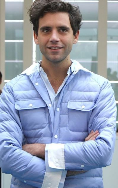 Mika puffy blue jacket - Sept 21 2012 press conference in Milan