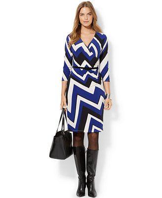 Lauren Ralph Lauren Plus Size Chevron-Print Faux-Wrap Dress