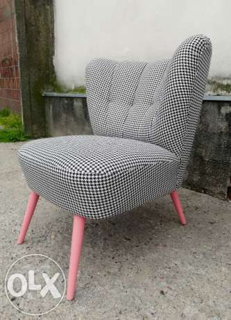 fotel uszak pepita retro róż Warszawa - image 1
