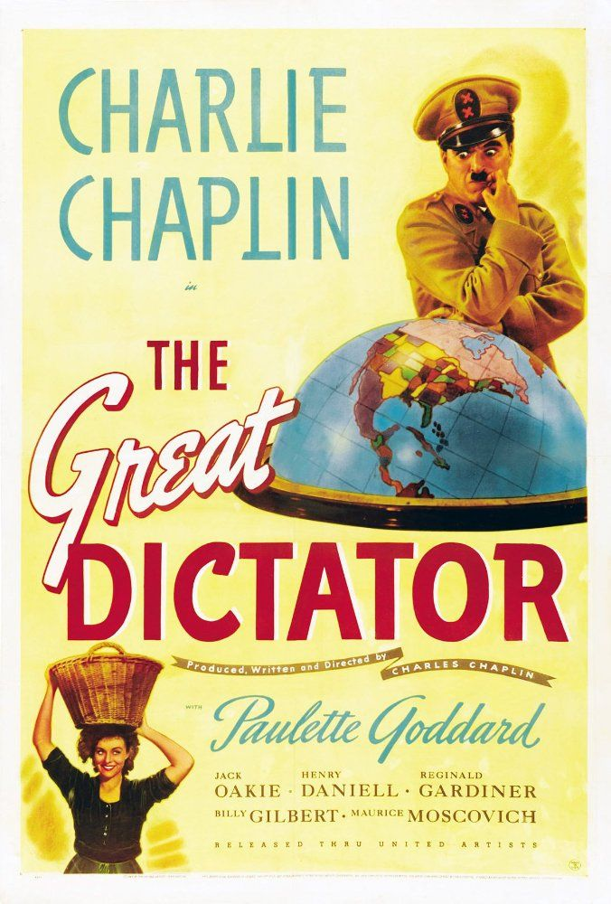 Directed by Charles Chaplin.  With Charles Chaplin, Paulette Goddard, Jack Oakie, Reginald Gardiner. Dictator Adenoid Hynkel tries to expand his empire while a poor Jewish barber tries to avoid persecution from Hynkel's regime.