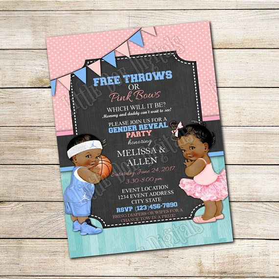Personalized Free Throws or Pink Bows Gender Reveal Party