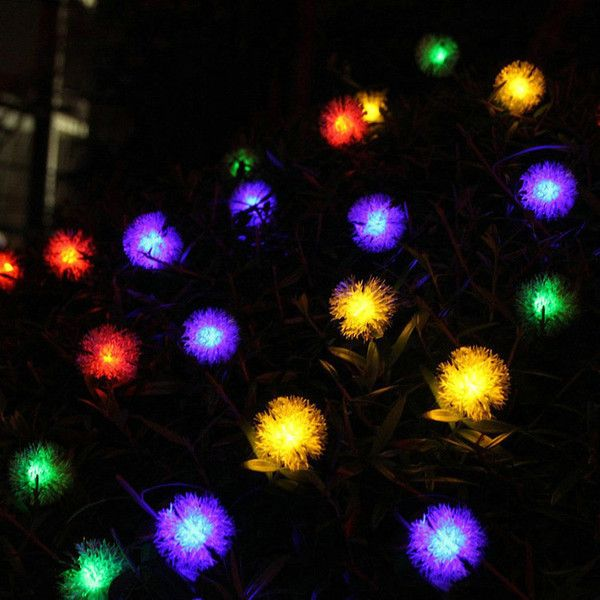 plush ball modeling outdoor waterproof solar led string lights 38 aud liked on polyvore featuring home outdoors outdoor lighting