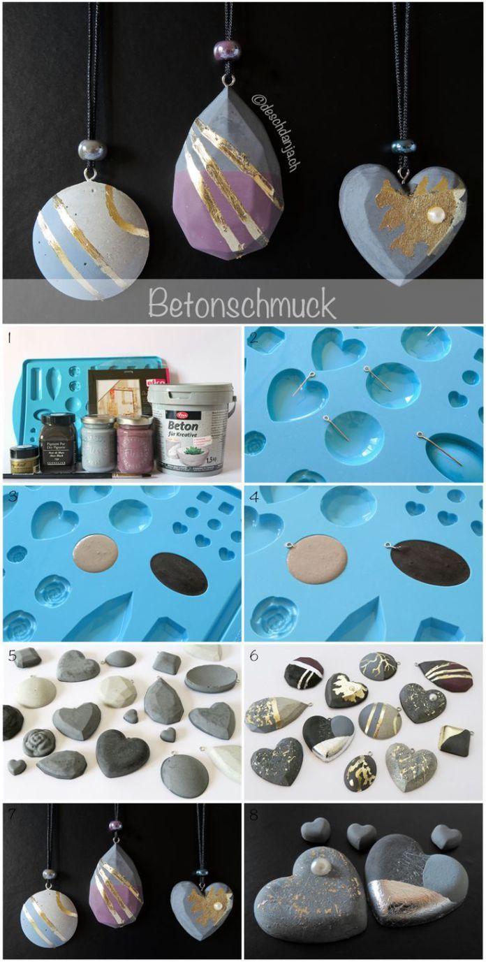 60 besten schmuck beton bilder auf pinterest zement beton basteln und betonschmuck. Black Bedroom Furniture Sets. Home Design Ideas