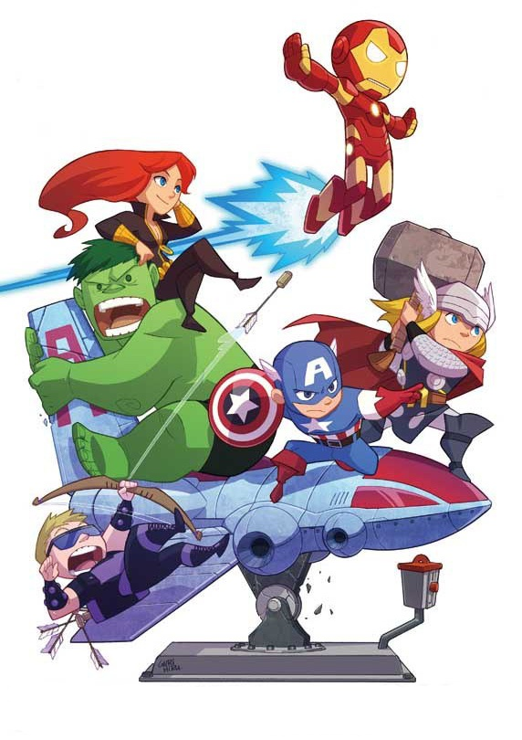 """A fun Avengers variant cover by artist Gurihiru, to honor the upcoming """"Avengers"""" film, and featuring the same character lineup.: Geek Art, Irons Man, Comic Books, Comicbook, Kids, Fans Art, Fanart, Superhero, The Avengers"""