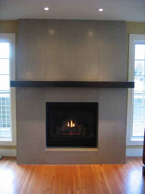 Contemporary Fireplace - tiled surround with mantle (but lighter)
