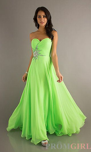Floor Length Strapless Sweetheart Gown with a splash of sparkle from promgirl.com